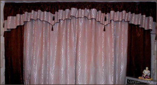 шторы коричневые с бежевым