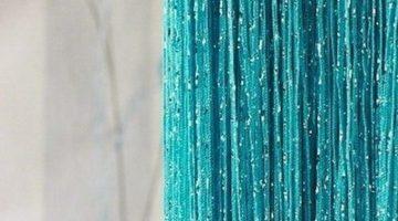 кисея дождь однотонная темно-голубой