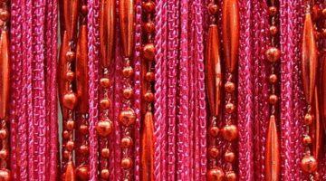 Кисея бусы темно-розовая
