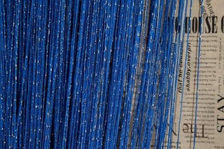 кисея дождь однотонная синий